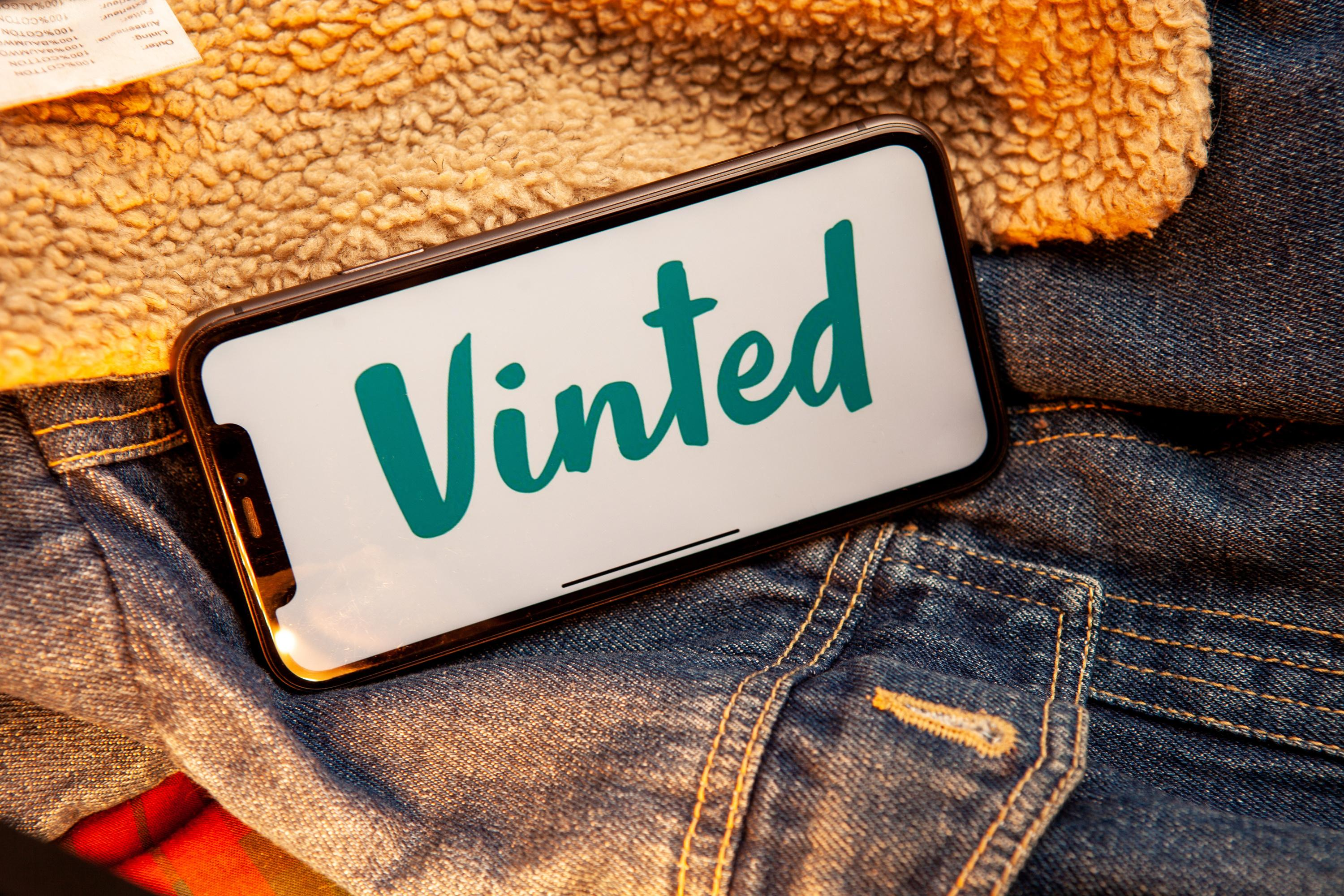 Vinted Iphone Screen with on second hand vintage denim jacket. Vinted is a Lithuanian online marketplace. #Vinted