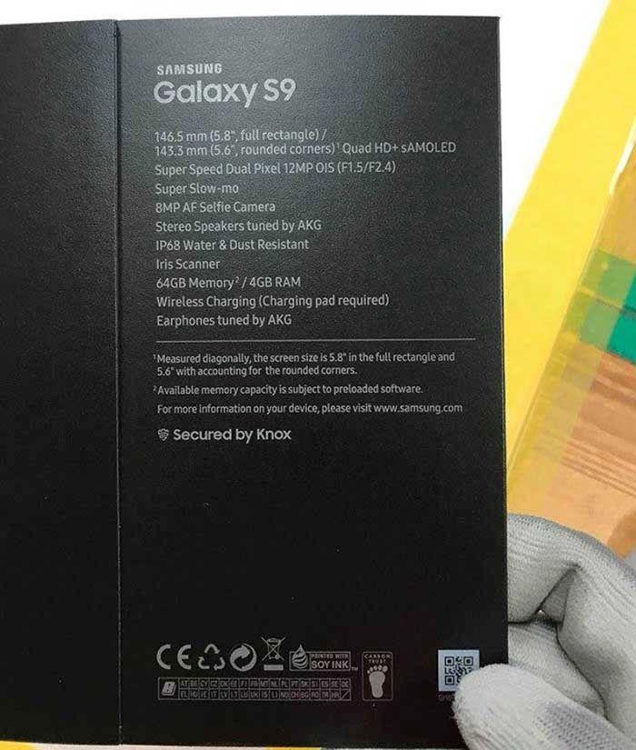 Especificaciones Galaxy S9 caja