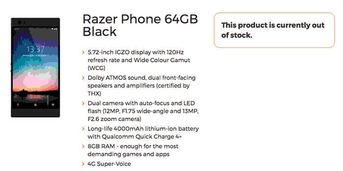 Especificaciones Razer Phone