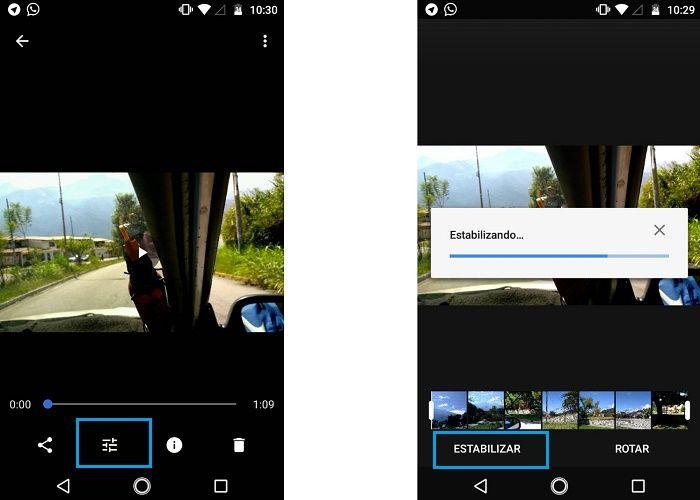 Estabilización de vídeo en Android con Google Fotos