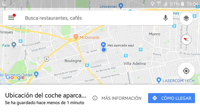 Estacionamiento en Google Maps