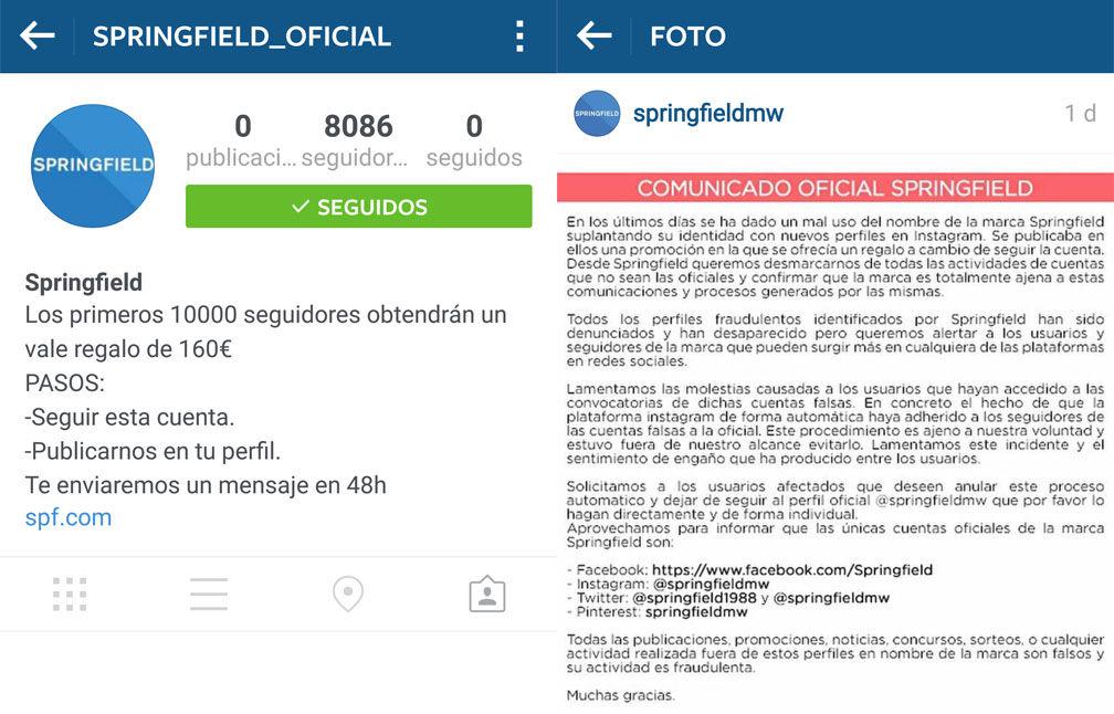 Estafa Instagram Springfield_oficial