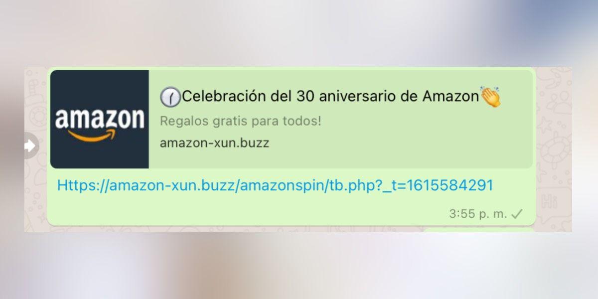 Estafa de Amazon en WhatsApp