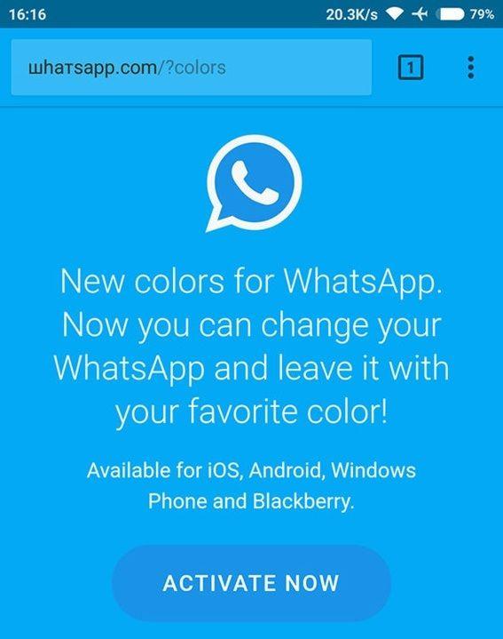 Estafa del color de WhatsApp