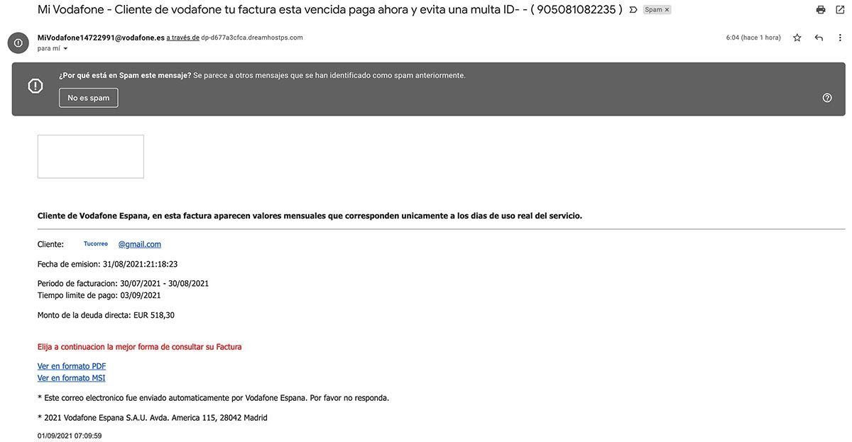 Estafa factura de Vodafone