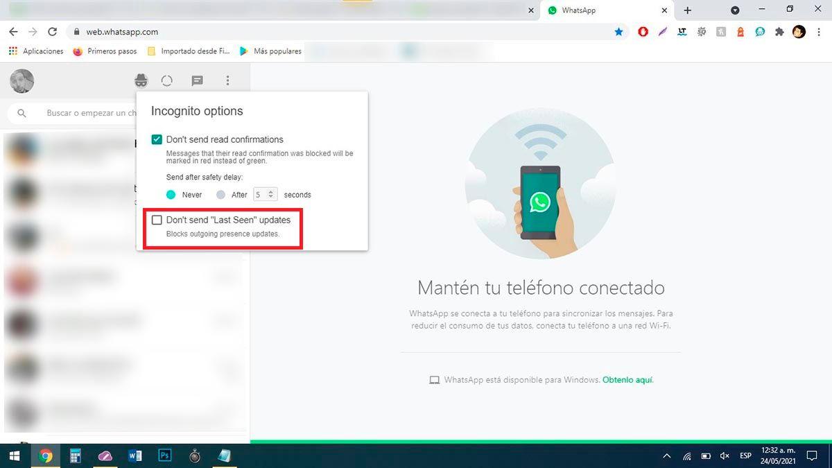 Evitar que WhatsApp Web te muestre en linea