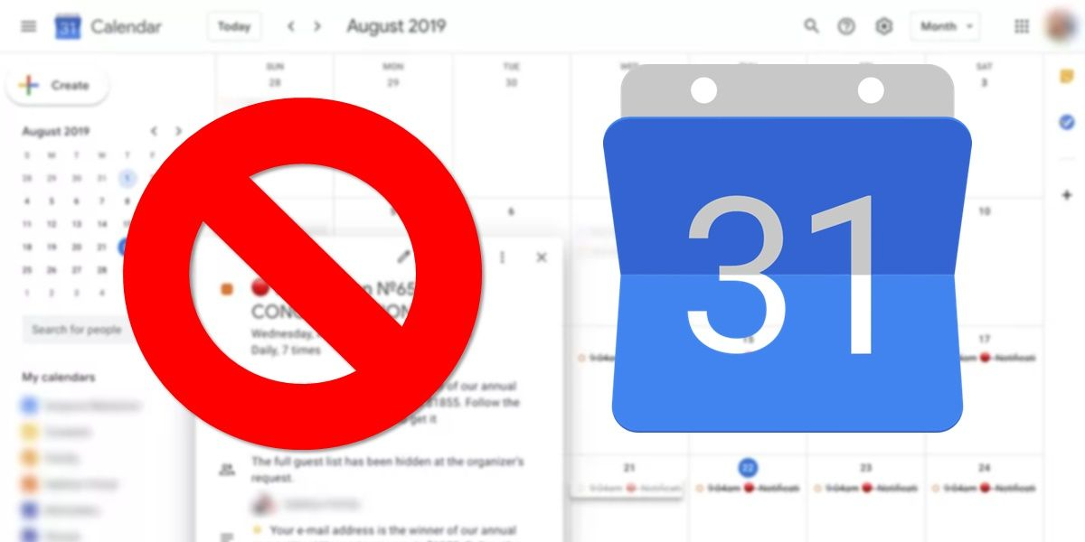 Evitar spam en google calendar
