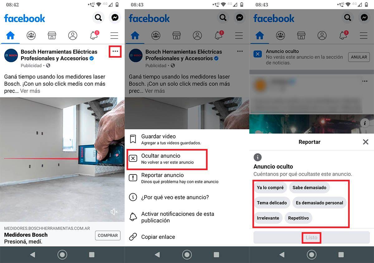 Evitar ver anuncios Facebook