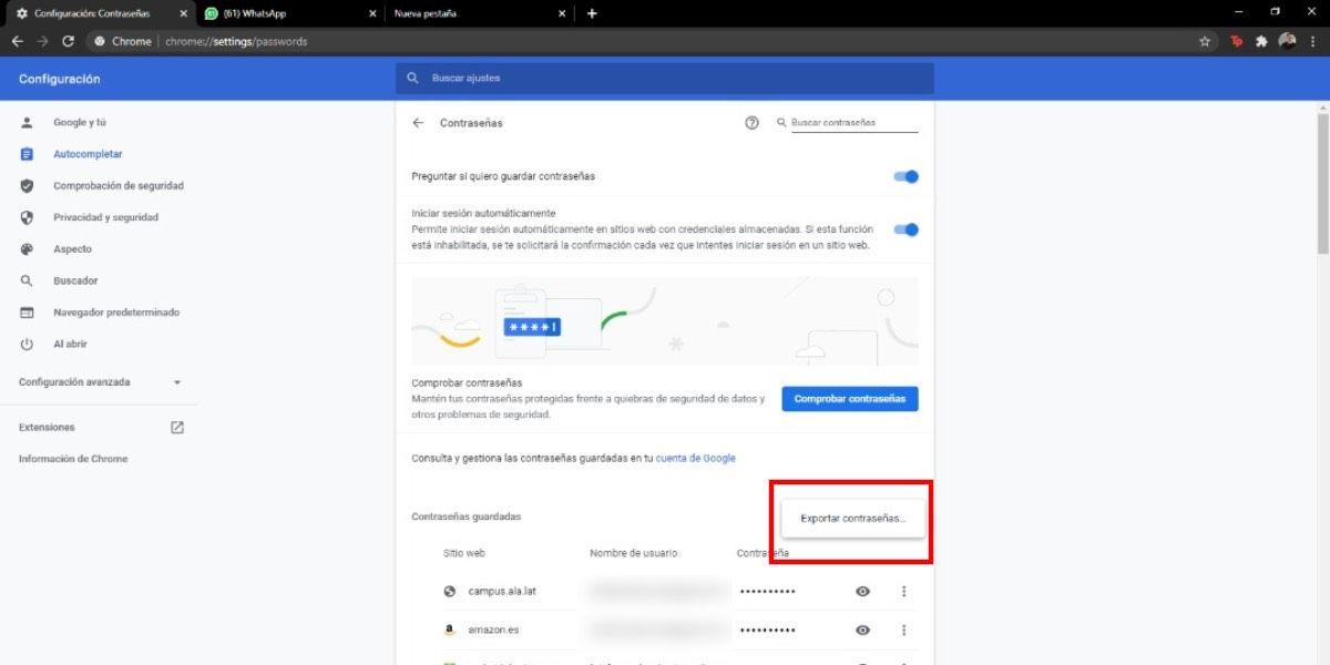 Exporta contraseñas google