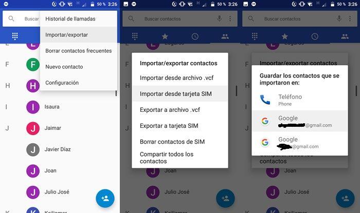 Exportar contactos de la tarjeta SIM a la cuenta de Google