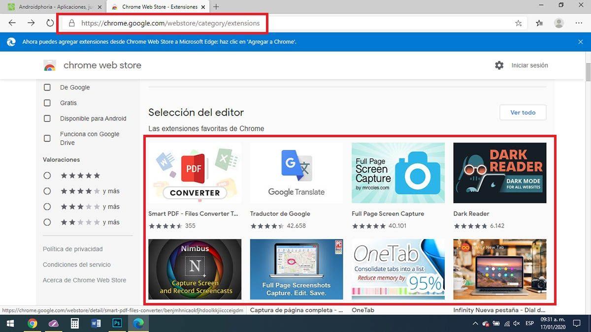 Extensiones de Google Chrome en Microsoft Edge