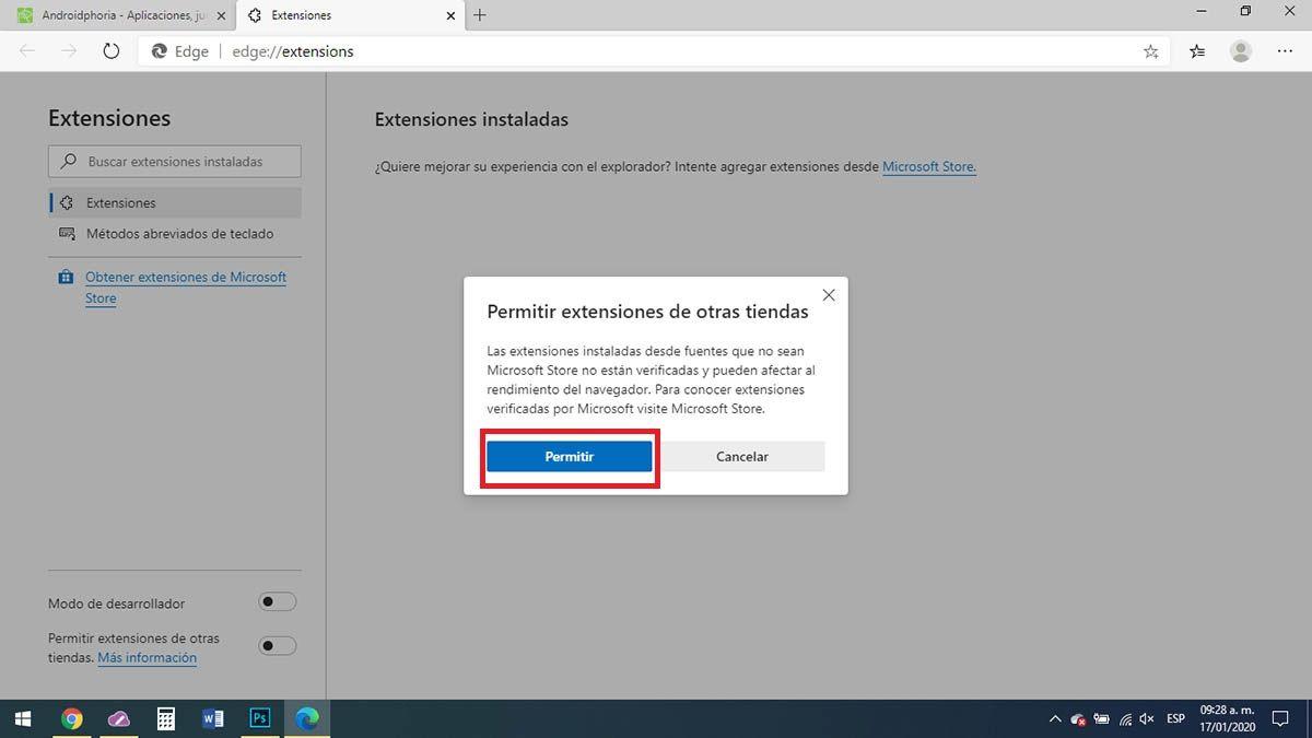 Extensiones de otras tiendas Microsoft Edge