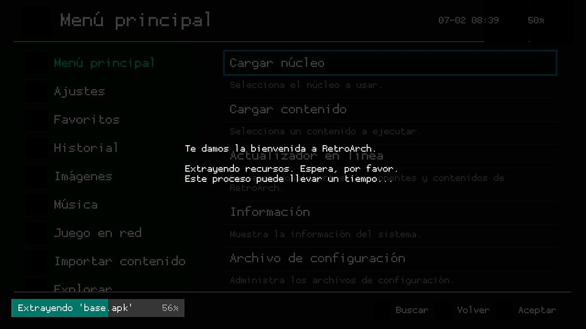 Extraer archivos RetroArch