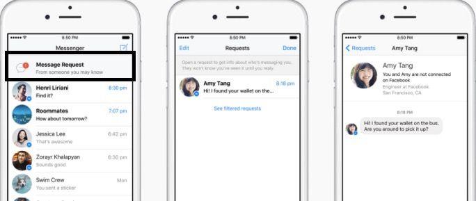 Facebook añade Solicitud de mensajes