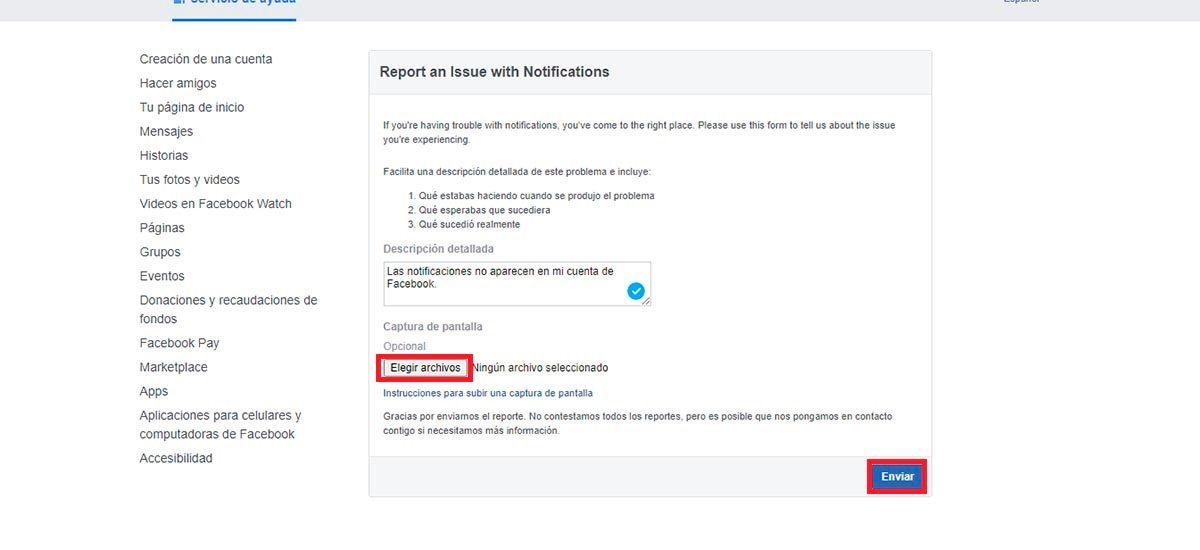 Facebook contacto problema notificaciones