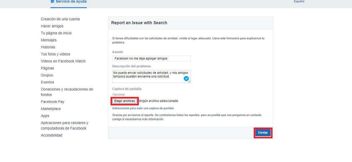 Facebook contacto problemas al agregar amigos