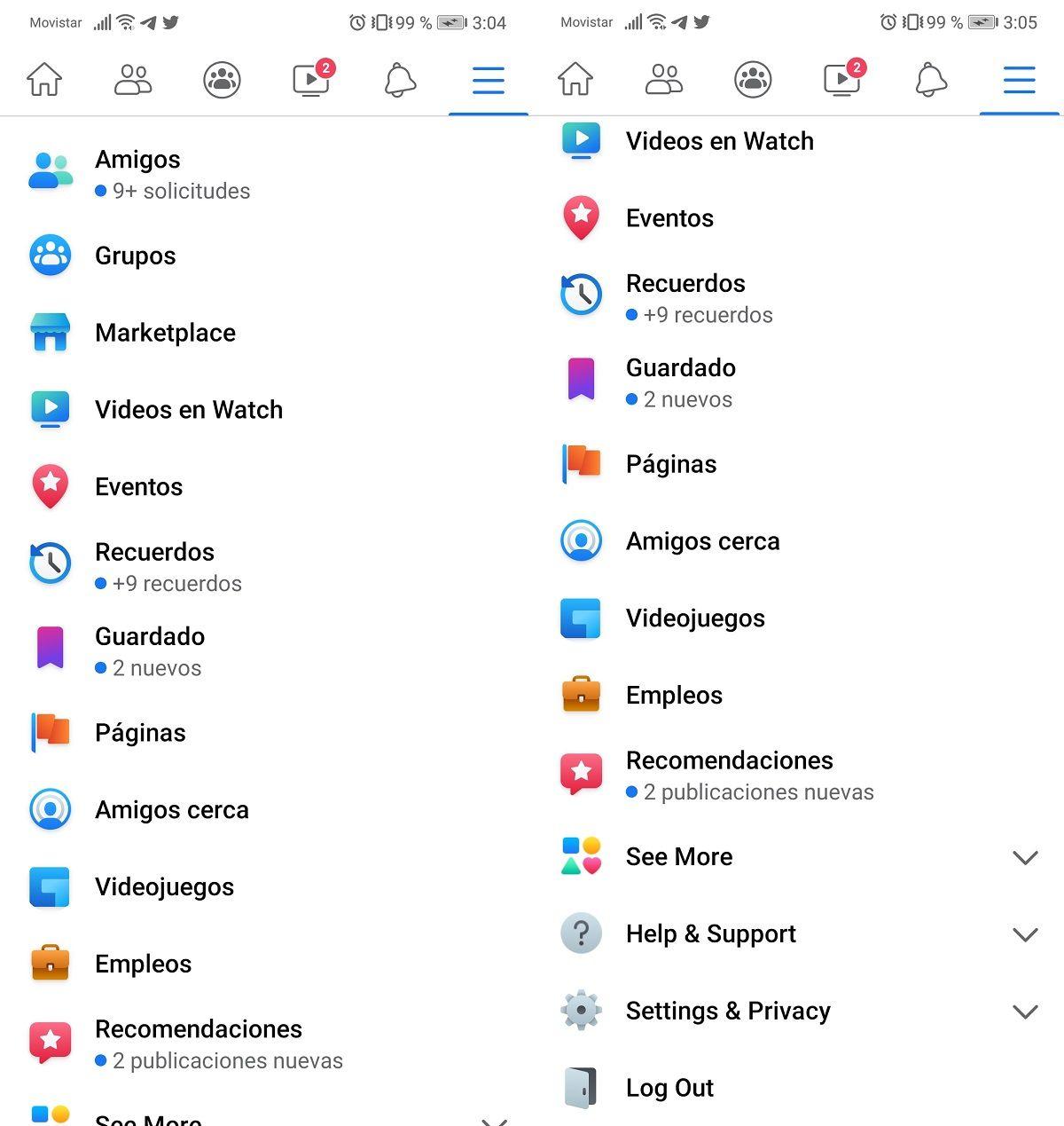 Facebook menu antiguo en Android