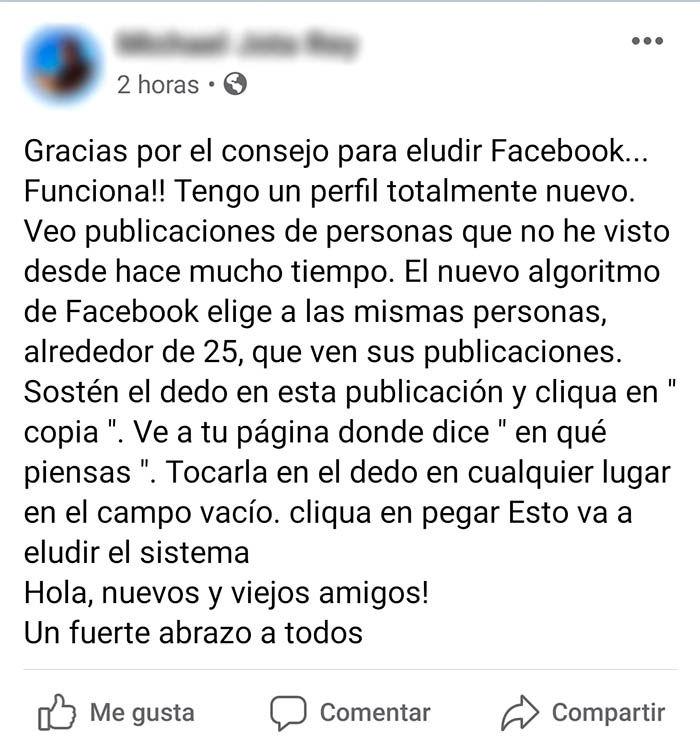 Facebook modificar algoritmo mensaje
