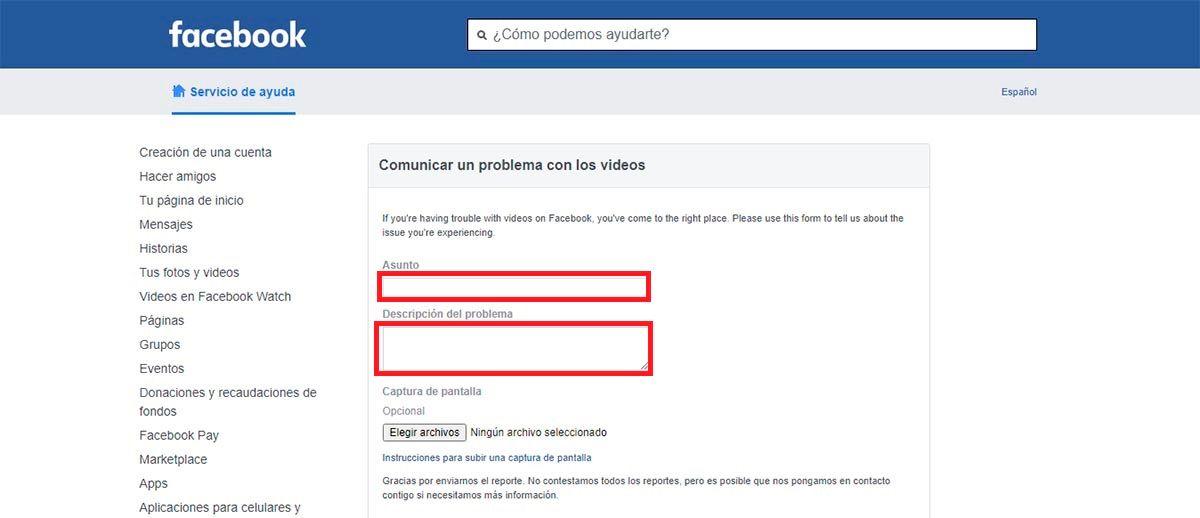 Facebook problema con videos