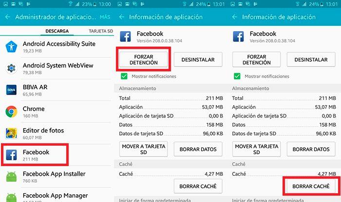 Facebook se ha detenido solucion Android Paso 2