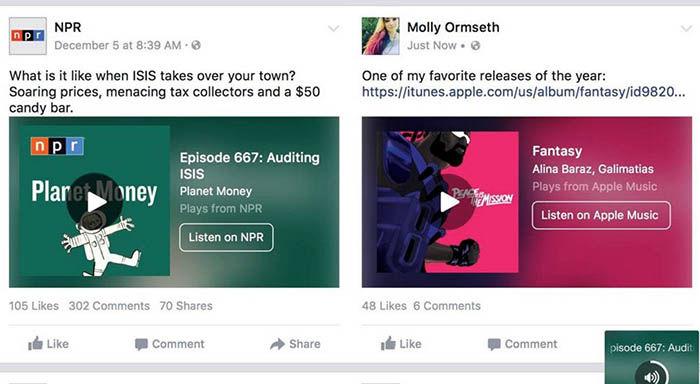 Facebook soporte para Spotify