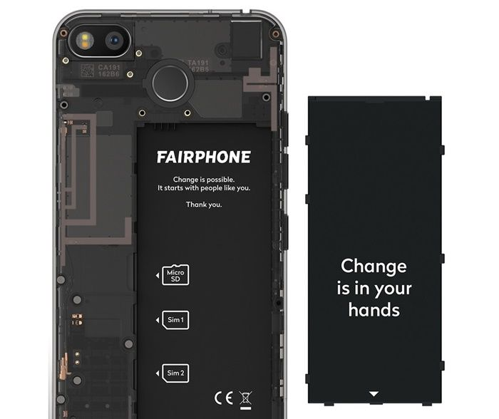 Fairphone 3 bateria parte trasera