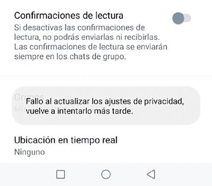 Fallo WhatsApp ajustes de privacidad