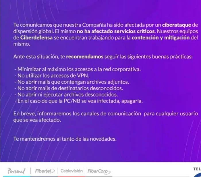 Fibertel anuncia hackeo a sus empleados