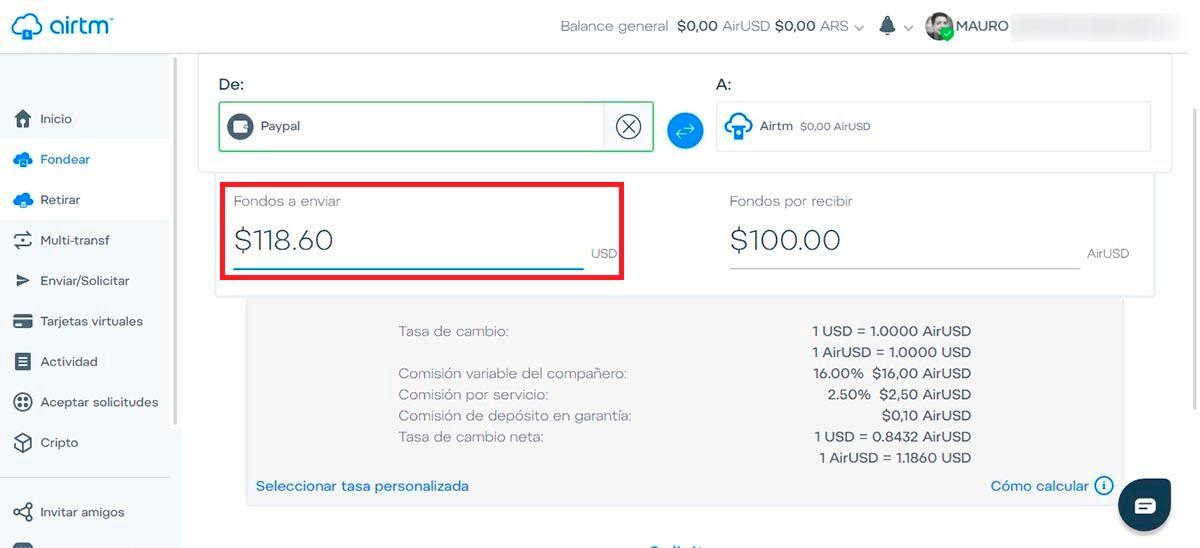 Fondear PayPal en Airtm