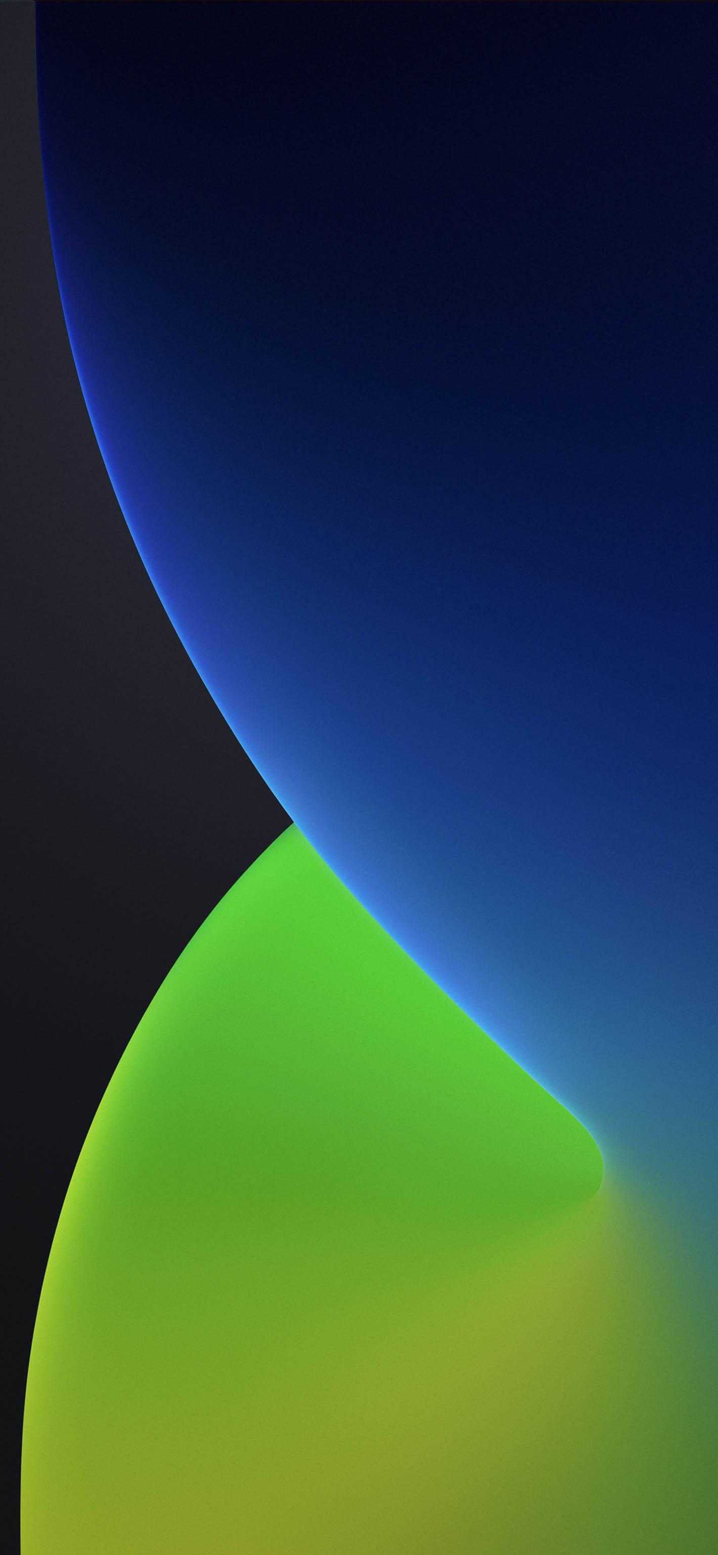 Fondo iOS 14 azul y verde oscuro