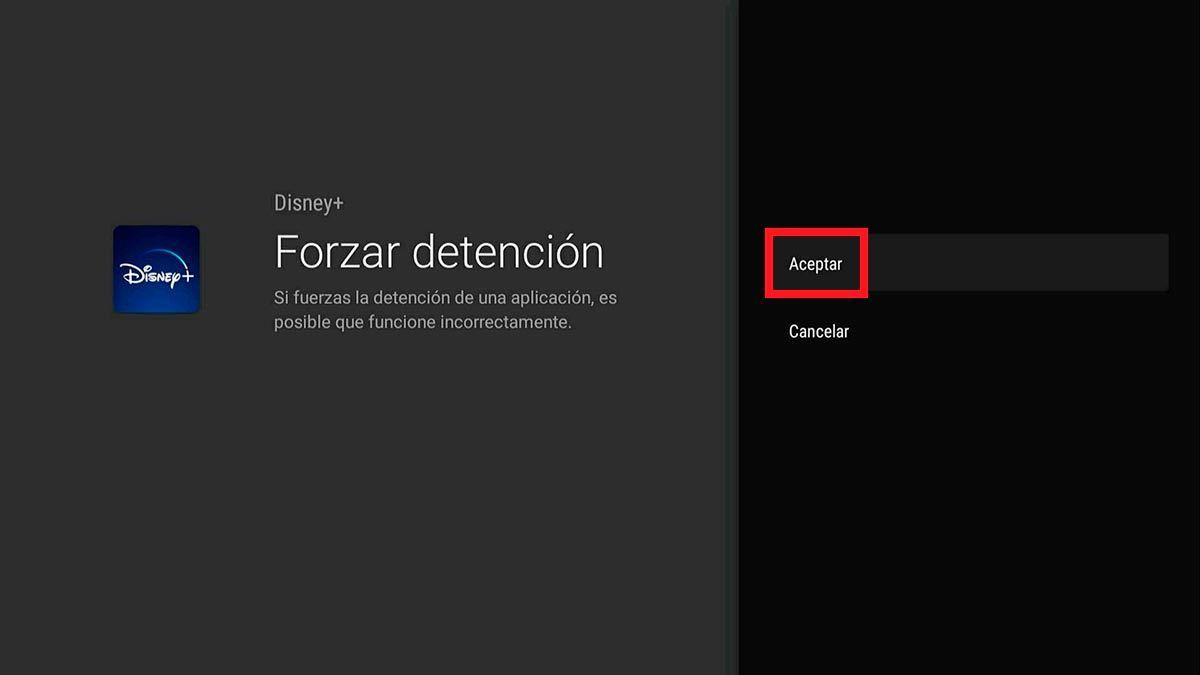Forzar cierre aplicacion Android TV