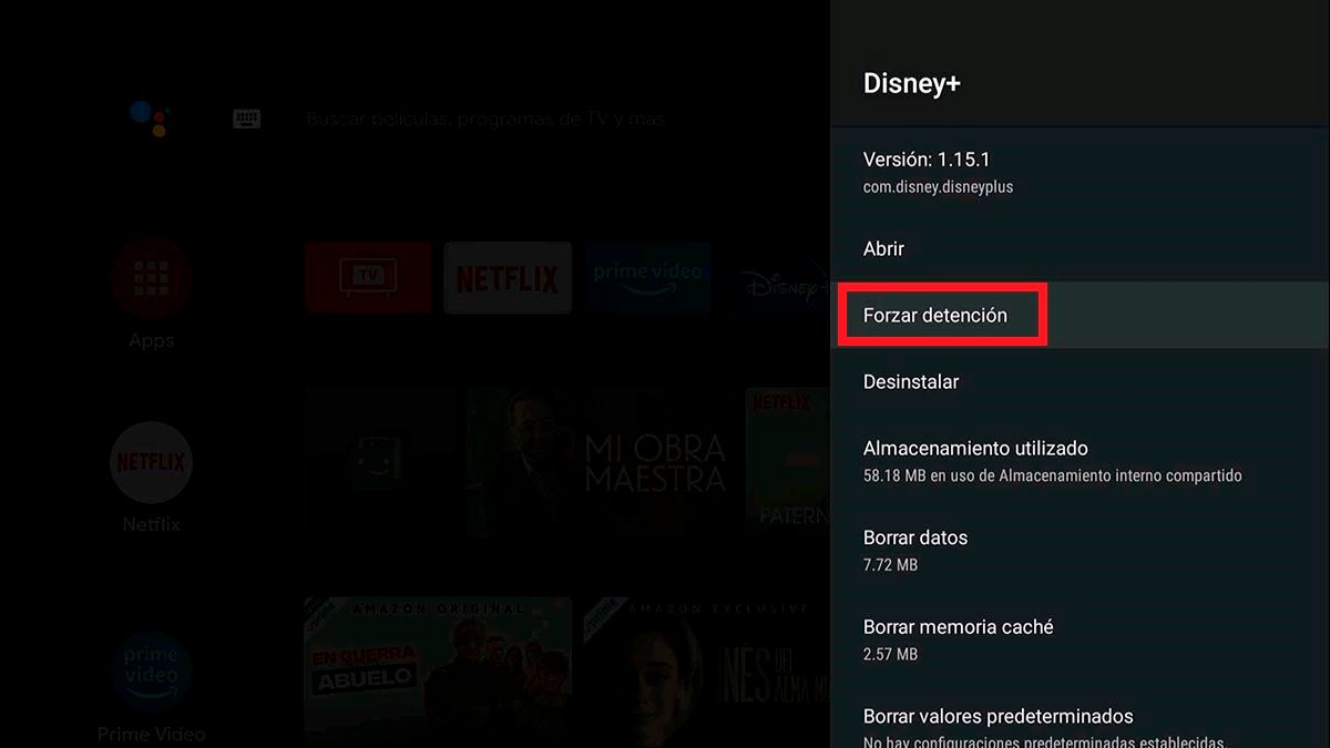 Forzar detencion aplicacion Android TV
