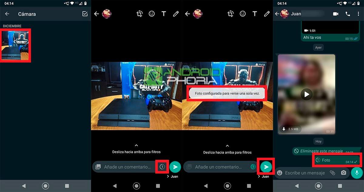 Foto configurada para verse una sola vez WhatsApp