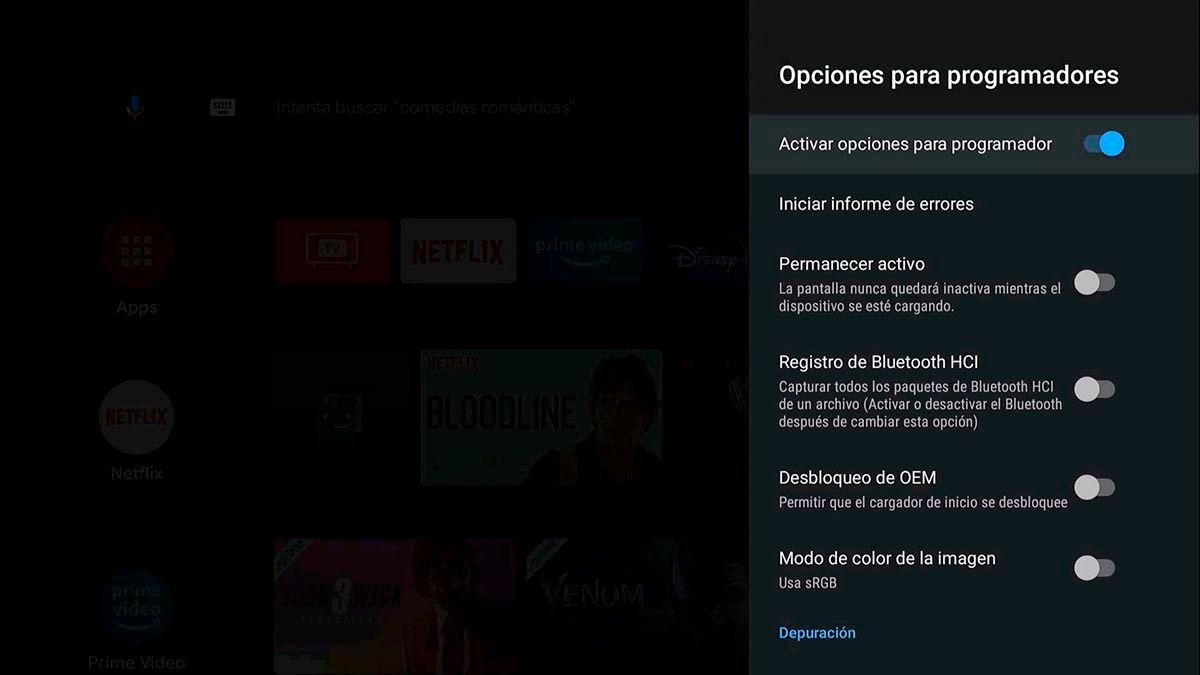 Funciones modo desarrollador Android TV