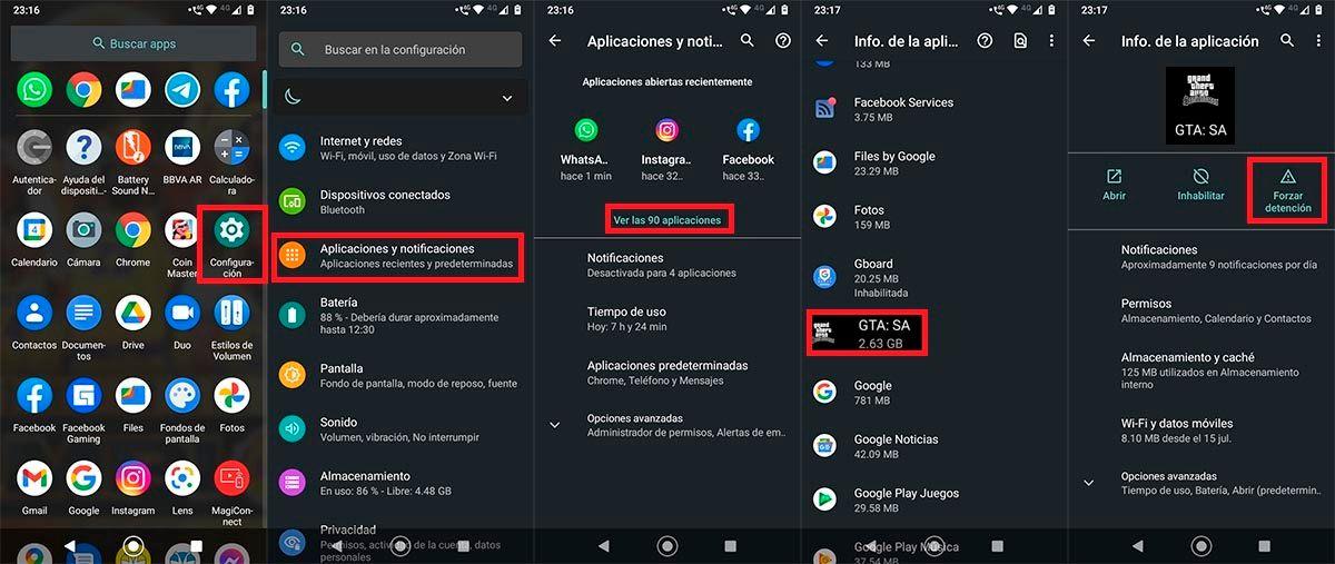 GTA San Andreas ajustes Android