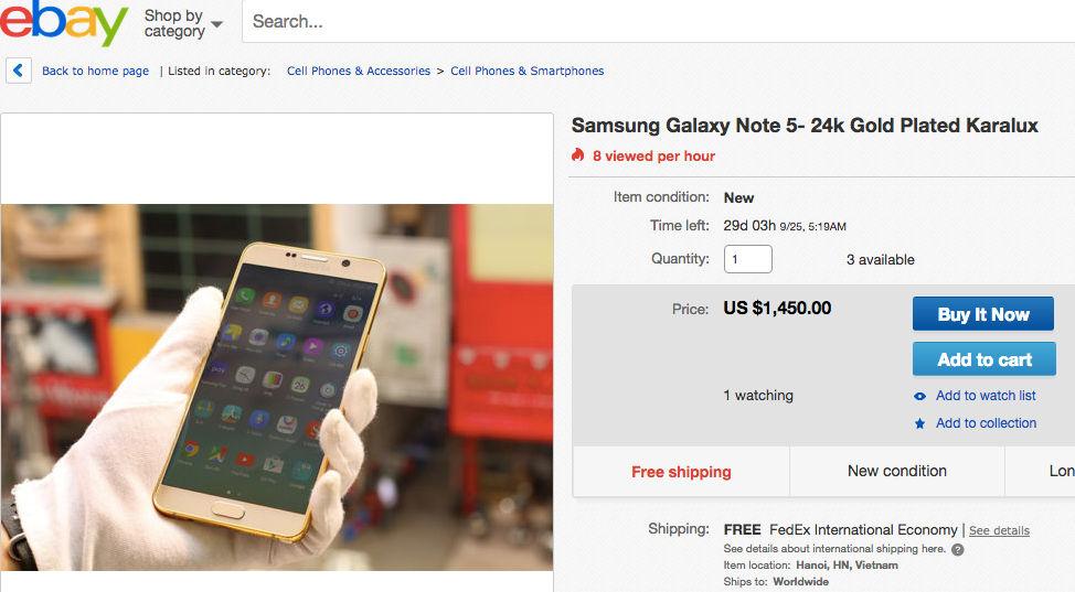 Galaxy Note 5 en oro de 24K por 1450 dólares