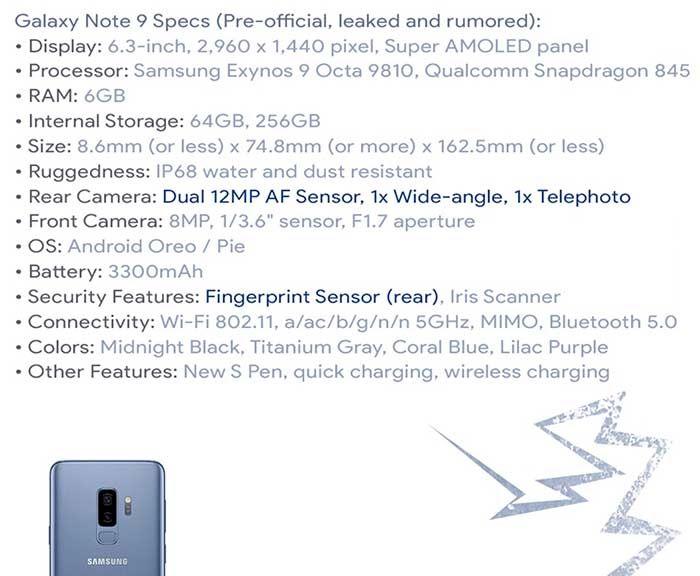 Galaxy Note 9 especificaciones filtradas
