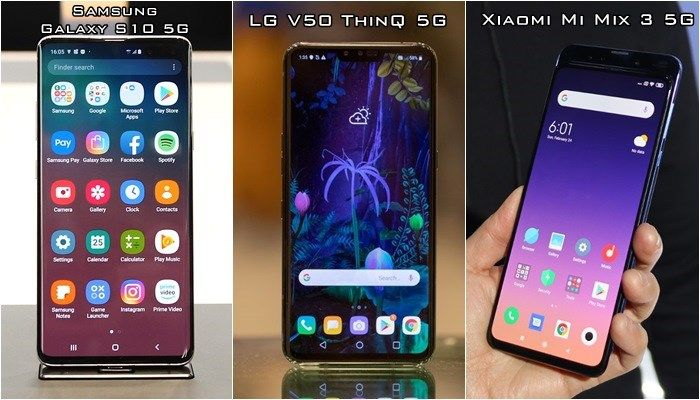 Galaxy S10 5G vs LG V50 5G vs Xiaomi Mi Mix 3 5G diseños