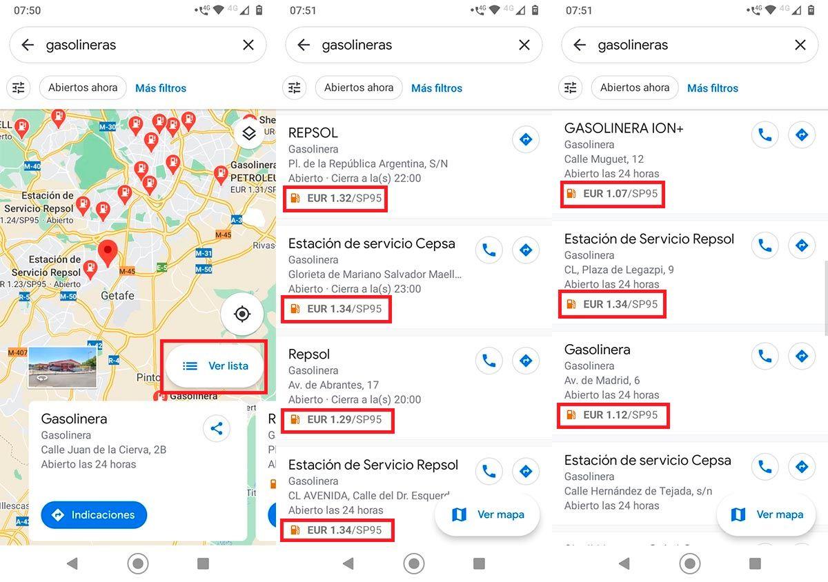 Gasolineras precio Google Maps