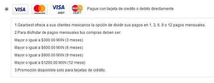 GearBest Mexico como pagar a plazos