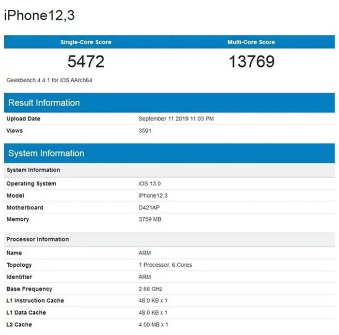 GeekBench Apple a13 bionic
