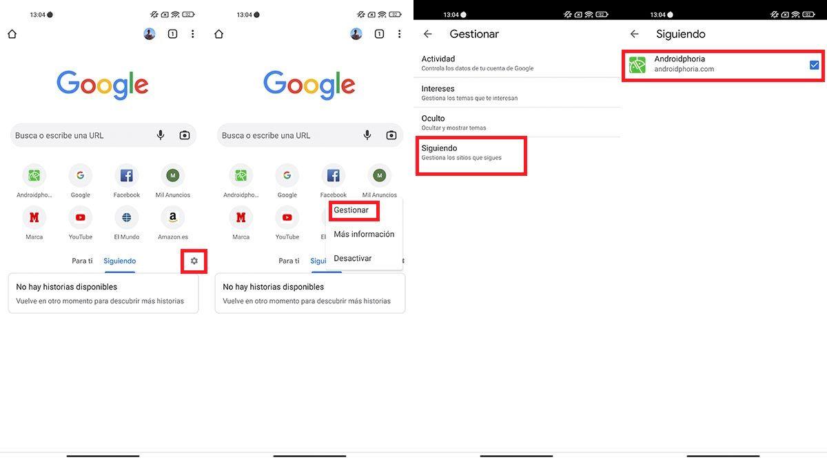 Gestionar paginas web seguidas Chrome