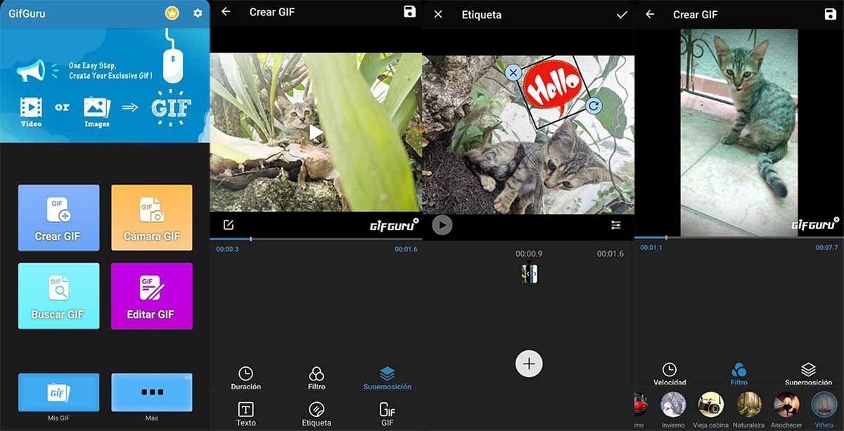 GifGuru app para crear gifs que no ocupará mucho espacio en tu móvil
