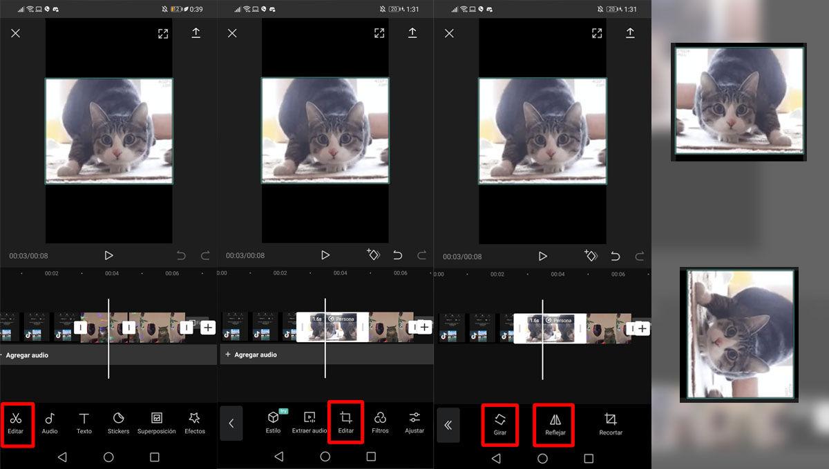 Girar y reflejar un vídeo edit en espejo para subirlo a TIkTok con CapCut