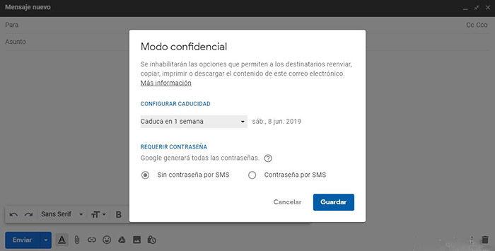 Gmail Modo Confidencial escritorio
