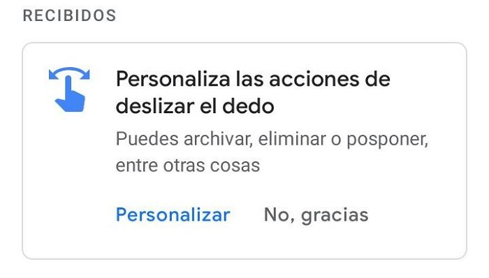 Gmail gestos