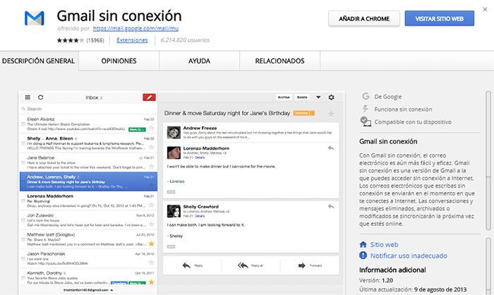 Gmail sin conexión a internet