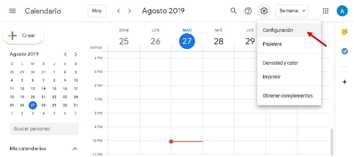 Google Calendar pagina web