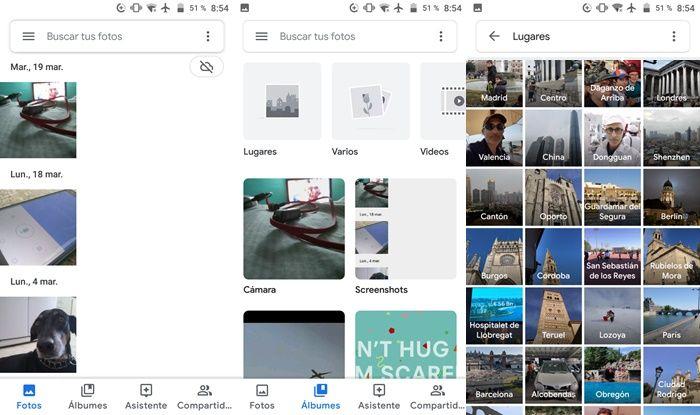 Google Fotos albumes segun lugares