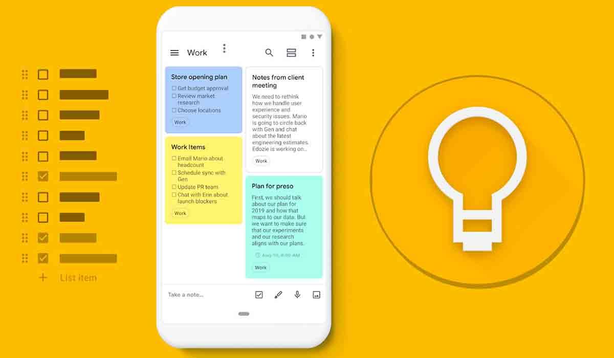Google Keep app alternativa a Notability